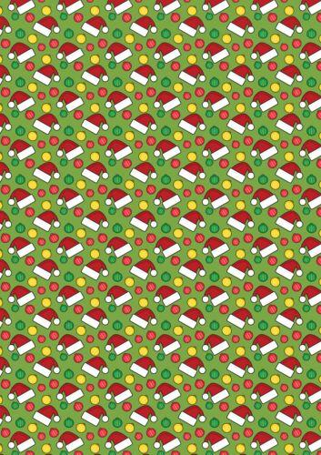 Imprimé Nœud Tissu A4 Noël Santa CHAPEAUX /& BOULES CM1 faire paillettes Bows