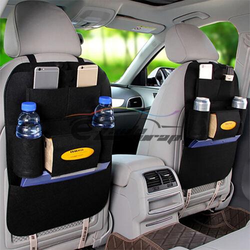 2Pcs Black Car Seat Back Storage Organizer synthetic leather iPad iPhone Holder