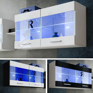 Wall-Display-Cabinet-Unit-Mounted-Glass-Shelves-Cupboard-Storage-Living-Room-LED