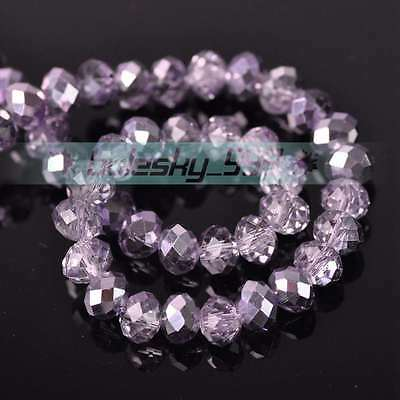 New 50pcs 8X6mm Faceted Rondelle Charms Loose Glass Spacer Beads Light Purple