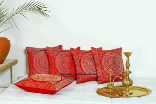Indian Mandala Silk Brocade Pillow Cushion Cover Sofa Throw Ethnic Home Decor