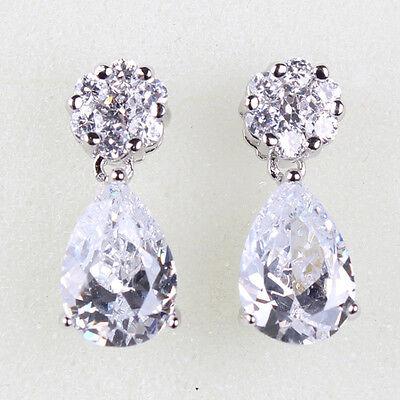 Enchanting Swarovski crystal 18k white gold filled best sell dangle earring