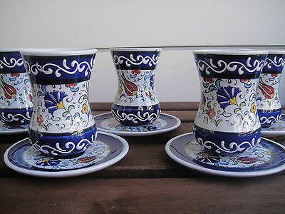 Authentic Totally Handmade Ceramic Turkish Tea Serving Set for 6 people