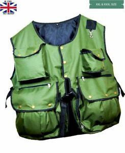 Falconry-and-Hunting-Waistcoat-Vest-Olive-Green-XXL-amp-XXXL-Sizes-Fully-Adjust