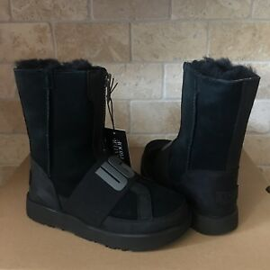 a878cc8f77e Details about UGG CONNESS WATERPROOF BLACK LOGO SUEDE LEATHER ZIP SHORT  BOOTS SIZE 7.5 WOMENS