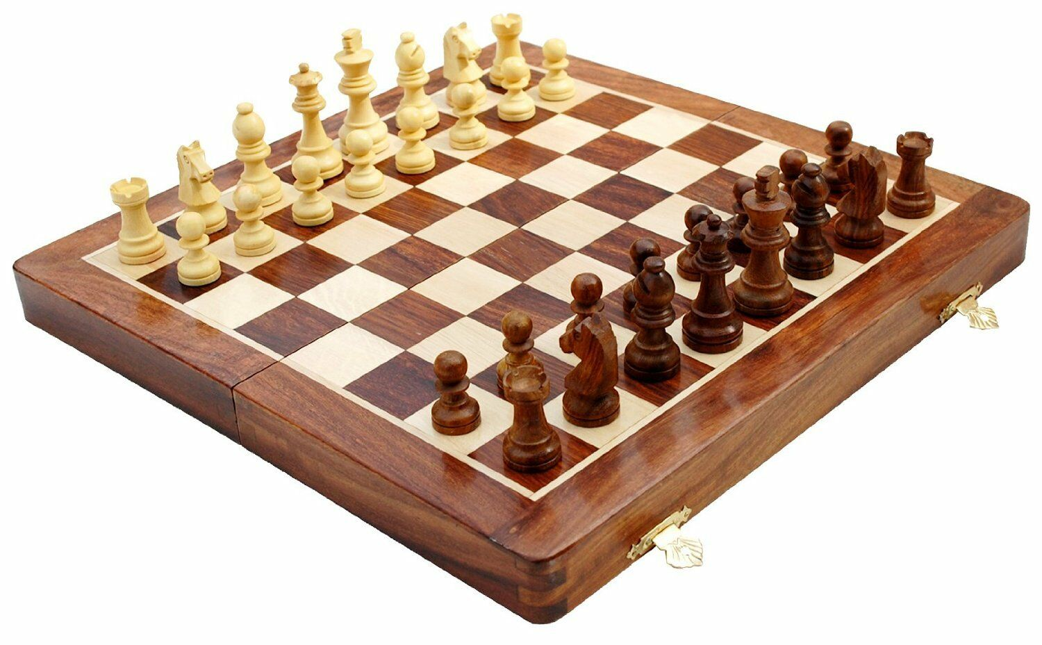 **NEW Quality Sheesham Wood 16  Magnetic Folding Chess Set - 3x Weighted Pieces