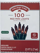 New Set//Box Of 300 RED Christmas Lights With Green Wire 65.7FT Holiday Time RARE