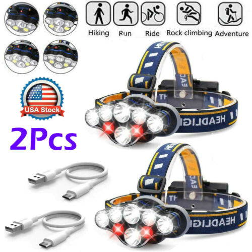 Details about  /Bright Light  USB Rechargeable 350000LM COB Headlamp Headlight 8Modes LED Torch