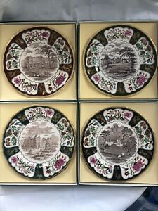 Vintage-Boxed-Mason-039-s-Ironstone-Christmas-Plates-4-Pieces-5-Of-The-Collection