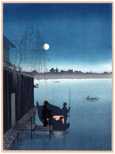 6115.Japanese people boarding a fishing boat on a lake.POSTER.Home Office art