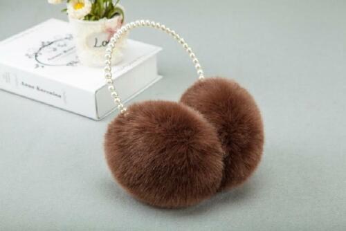Elegant Women Faux Fur Earmuffs Imitation Pearl Headband Ear Warmer Ear Cover