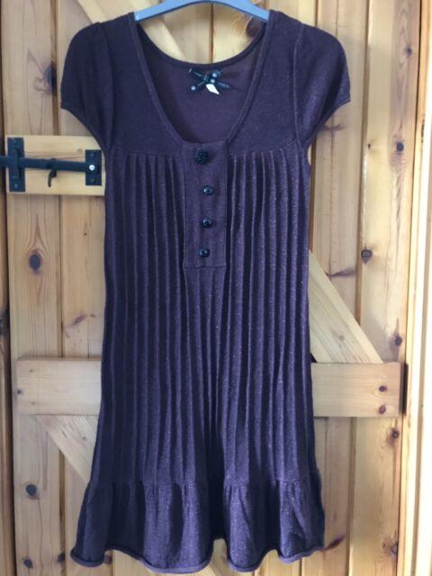 LADIES BURGUNDY RIVER ISLAND DRESS SIZE UK 10 WOMENS GLITTERY WORN ONCE
