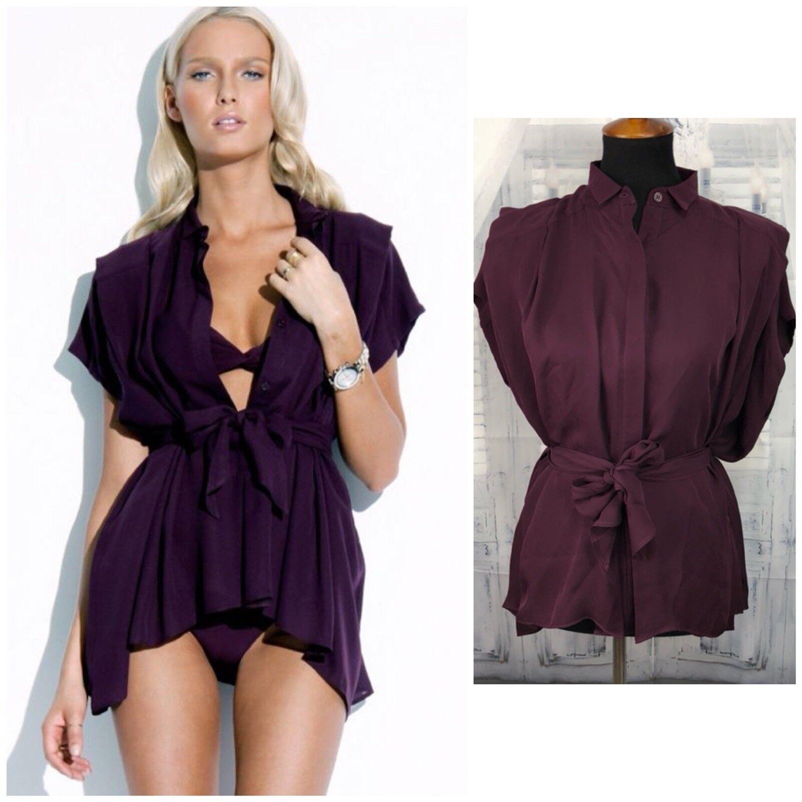 Charlie by Matthew Zink MZ Womens Silk Tunic Top Blouse Kaftan Belt Shirt Plum