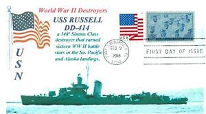 Uss-Russell-DD-414-USN-Ww-II-Destructor-Earned-16-Battle-Stars-Foto-Cachet-FDC