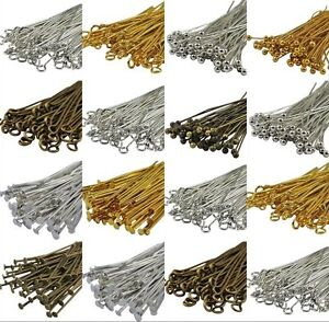 100pcs-Head-Eye-Ball-Pins-Finding-21-Gauge-any-size-to-choose-Silver-Golden