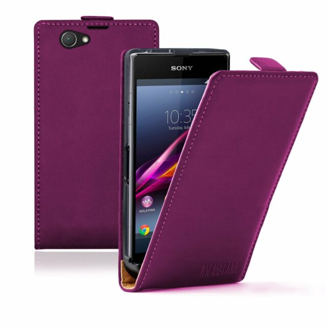 Ultra Slim PURPLE Leather case cover for Sony Xperia Z1 Compact D5503 experia