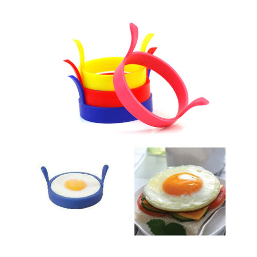 4x SILICONE Circle EGG RINGS PANCAKES NON STICK Fried Poach Mould Cake Mold !