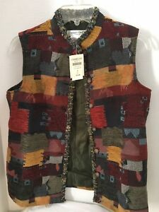 NWT-Coldwater-Creek-Vest-Top-Sleeveless-Tapestry-Patch-Work-SZ-S-NEW