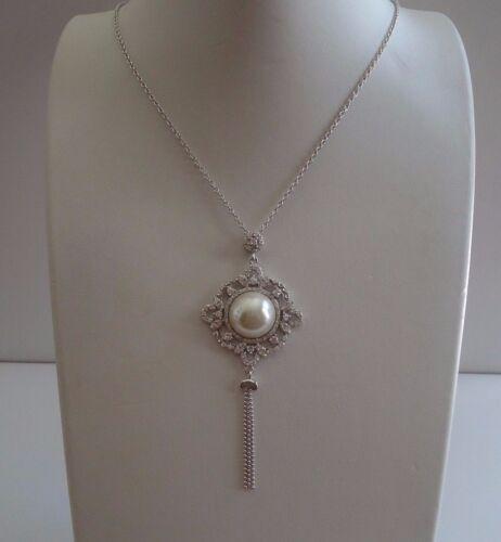 """Grappe pendantes Collier avec Lab DIAMONDS /& PEARLS//Argent Sterling 925//18/"""""""