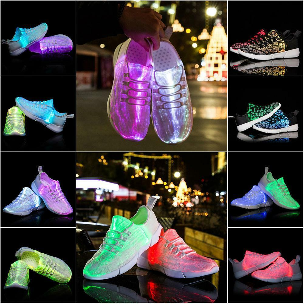 Summer Led Fiber Optic shoes USB Recharge glowing Sneakers Man light up shoes