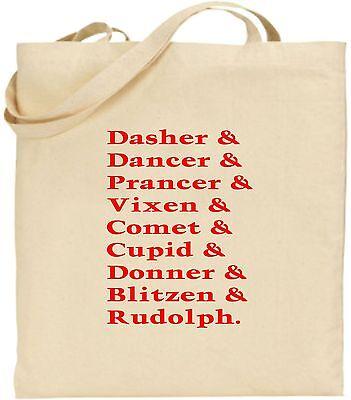 Rentier Names groß Baumwolle Einkaufstasche WEIHNACHTEN Tasche Wichteln cool