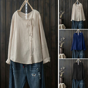 ZANZEA-Women-Crew-Neck-Lace-Up-Buttons-Down-Shirt-Tee-Ladies-Baggy-Tops-Blouse