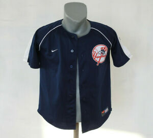 Details about New York Yankees NIKE Button Up Jersey size Boys M (12/14)  Navy Blue MLB Shirt