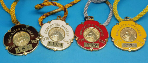 4 x Doncaster Horse Racing Members Badges 1983, 1989, 1990 and 1995