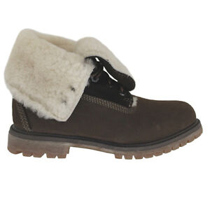 In 83385 U8 Roll Top Timberland pelle lacci con Shearling Stivale marrone donna da FYp7xwp