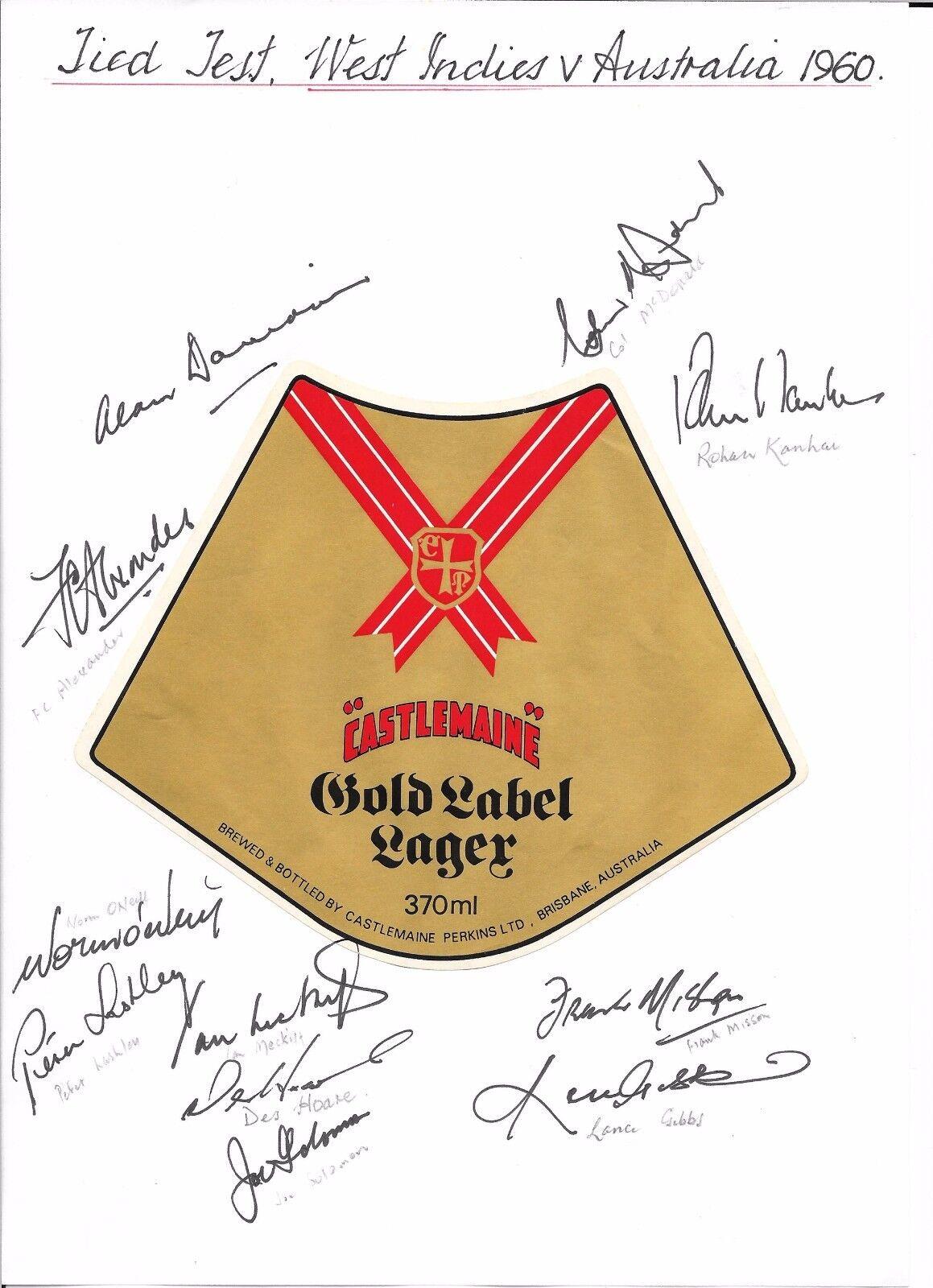 1960 AUSTRALIA v WEST INDIES TIED TEST- 11 AUTOGRAPHS ON A4 MONTAGE - gold LABEL