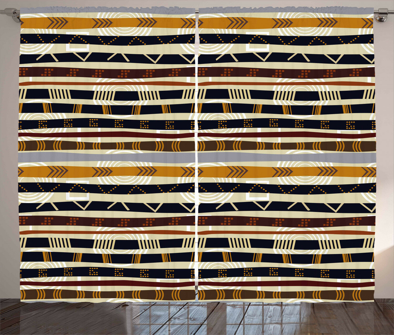 Cortinas Tribal étnico africano Trippy Ventana Cortinas 2 pulgadas Panel Set 108x90