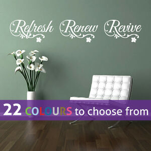 REFRESH RENEW REVIVE Relax Wall Sticker Art Decal Bathroom Beauty - Wall decals bathroom