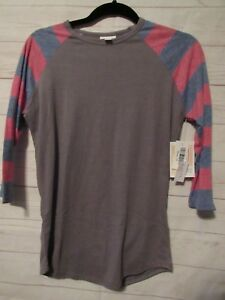 Lularoe-Women-039-s-Randy-Gray-with-Red-amp-Blue-Sleeves-Top-Size-XS-NWT