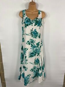 WOMENS PER UNA MARKS&SPENCER WHITE & GREEN FLORAL SUMMER FIT & FLARE DRESS UK12R
