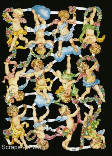 German Embossed Vintage Style Scrap Die Cut Easter Christmas Angels     EF7146