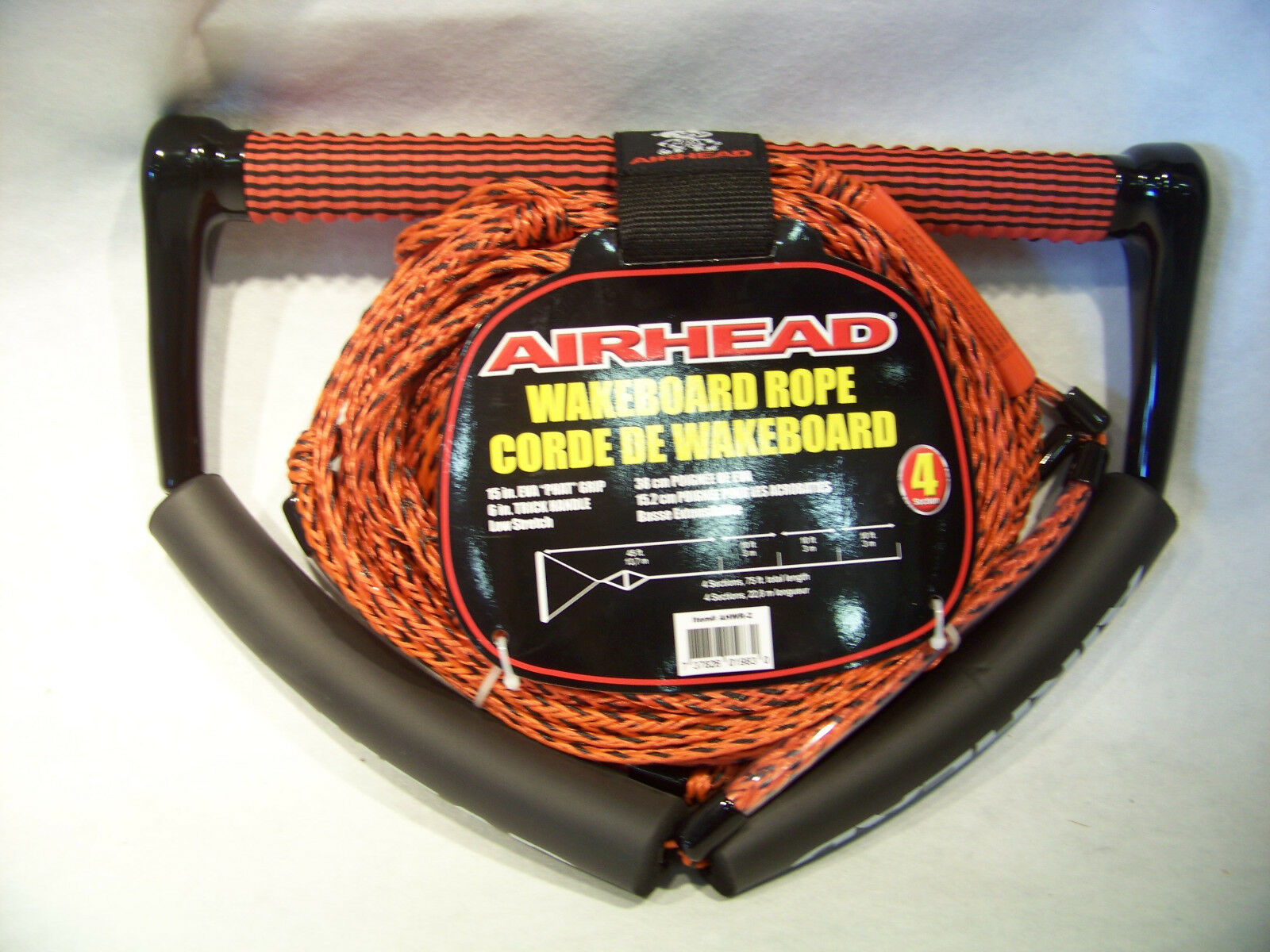 Airhead Wakeboard Rope 4 section w  phat grip Red   Corde de Wakeboard