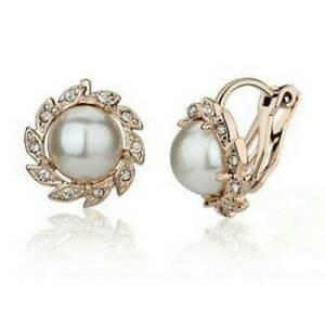 Comfy-Clip-On-Cream-Pearl-Crystal-Rhinestone-Flower-Round-Stud-Gold-Earrings