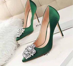 4e0846735 New Women Satin High Heels Pointed-toe Stiletto Rhinestone Buckle ...