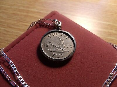 "Coins & Paper Money 1965 Classic Fiji Sailboat Shilling Pendant On A 26"" Silver Link Style Chain Skilful Manufacture"