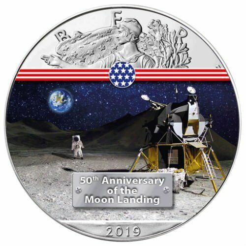LUNAR MODULE 50TH ANNIVERSARY MOON LANDING 2019 1 OZ AMERICAN SILVER EAGLE COIN