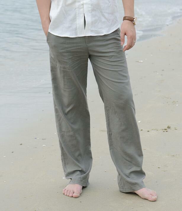 New Fashion Mens Linen Trousers Elastic Waist Loose Pants Straight Leg Casual