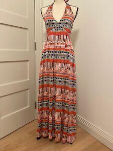 NWT DVF 100% Silk Coral Multicolor Halter Maxi Dress Sz 8