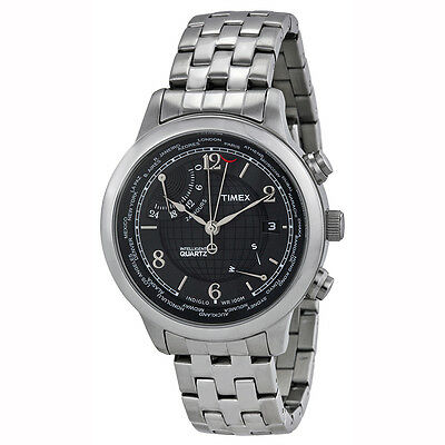Timex Intelligent World Time Charcoal Dial Mens Watch T2N610
