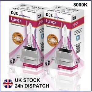 2-X-D3S-Bombilla-de-xenon-NUEVO-GENUINO-Lunex-compatible-con-66340-9285304244-8000K-UPT