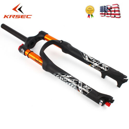 "KRSEC 26//27.5//29/"" Suspension Fork 1-1//8/"" Threadless 100mm Travel MTB Bike Fork"