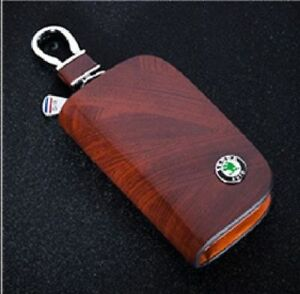 Skoda Leather Car Key Keychain Fob Case Holder Zipper Cover High Quality Brown