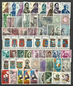 SPAIN-1965-COMPLETE-YEAR-STAMP-COLLECTION-62-Values-Mint-Never-Hinged