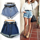 Women Sides Mini Jeans Shorts Oversize Crimp Pants Trousers Denim High Waisted