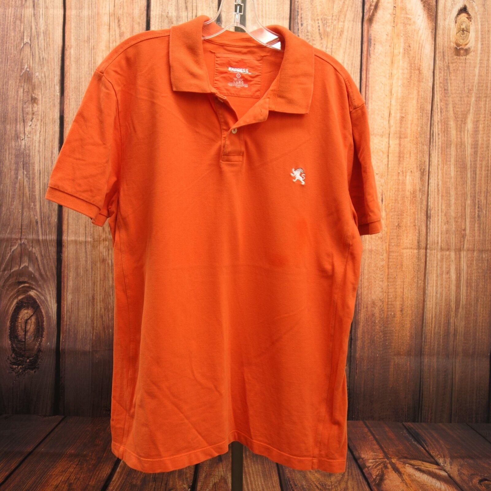 New Express Mens orange White Lion Short Sleeve Classic Polo Shirt Size L
