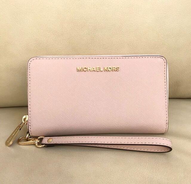 3f4b160eeff Michael Kors Saffiano Leather LG Flat MF Phone Case Wallet in Ballet ...